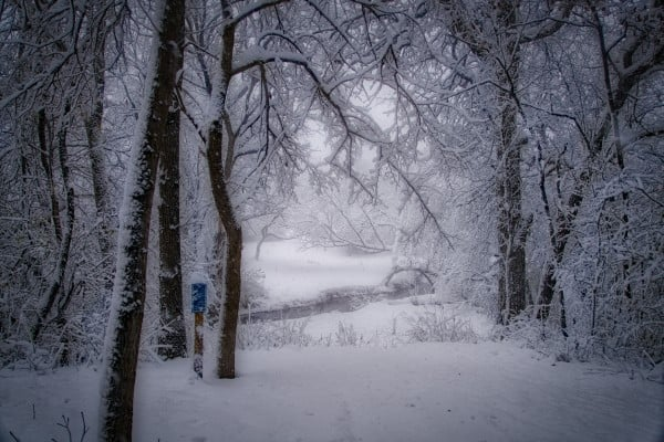 disc golf image, snowy teepad