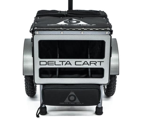 Delta 10 disc golf cart in carbon fiber wrap