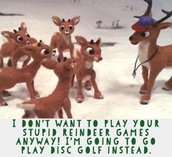 Rudolph plays disc golf